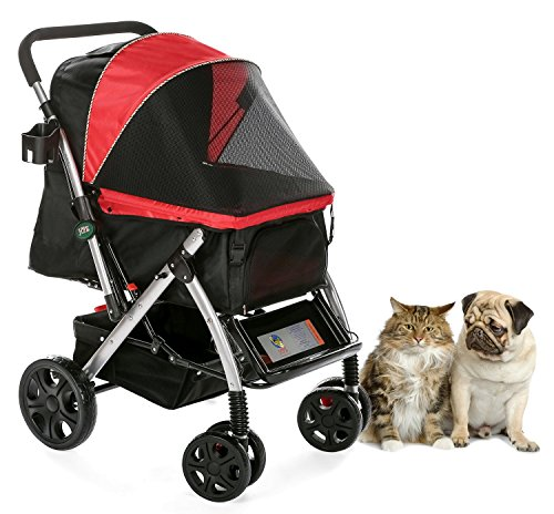 HPZ PET Rover Premium Heavy Duty Dog/Cat/Pet Stroller Travel Carriage with Convertible Compartment/Zipperless Entry/Reversible Handlebar/Pump-Free Rubber Tires for Small, Medium and Large Pets (Red)