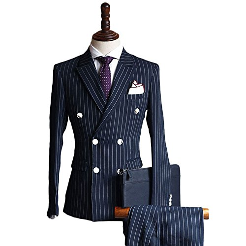 Double Breasted Striped Suit (Botong Striped Double Breasted Formal Suits Custom Wedding Party Suits Navy XS)