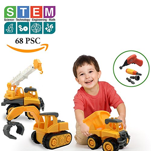 Educational STEM Toys for Boys & Girls , Take a Part Construction Vehicle Set of 3, Dump Truck, Crane, Excavator with Electric Drill & Tools, Build & Play Toy Best Gifts Idea Kids 3-6 years-old
