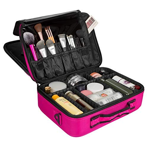 Solofish Travel Makeup Case Professional Makeup Case 3 Layer Cosmetic Bag with Adjustable Strap and Dividers (Rose Red)