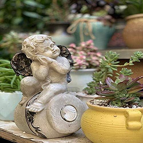 Estatuas para jardín Ángel El Dormir Lámpara Solar para Los Ornamentos Patio Balcón Jardín Crafts 12cm*12cm*23cm: Amazon.es: Hogar