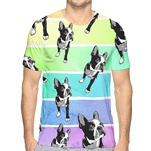Men's Crewneck Shirt, Boston Terriers Short Sleeve Sportswear for Holiday Surf Golf, 3D Pattern Print Regular Big and Tall Sizes Top Tees, Standard-Fit Jersey Shirt
