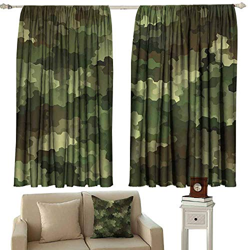 Kids Room Curtains Camo Frosted Glass Effect Hexagonal Abstract Being Invisible Woodland Print Green Pale Green and Brown Blackout Draperies for Bedroom Window W72 xL72
