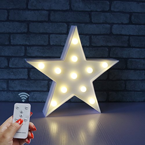 DELICORE Battery Operated Night Light LED Marquee Sign with Wireless Remote Control for Kids' Room, Bedroom, Gift, Party, Home Decorations(White Star)
