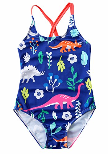 Happy Cherry Little Girl's Cute Bikini Dinosaur Pattern Padded One Piece Swimsuit Backless Swimwear for 3-4T