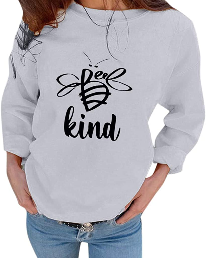 Aunimeifly Womens Bee Kind Letter Print Sweatshirts Ladies Round Neck Casual Loose Blouses