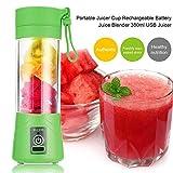 380ml USB Rechargeable Juicer Bottle Cup Juice Citrus Blender Lemon vegetables fruit Milkshake Smoothie Squeezers Reamers Bottle Light Green
