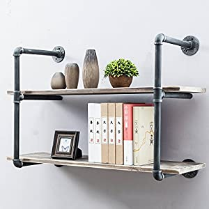 Industrial Pipe Shelves with Wood 2-Tiers,Rustic Wall Mount Shelf 36.2in,Metal Hung Bracket Bookshelf,Diy Storage Shelving Floating Shelves)
