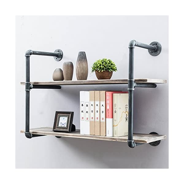 Industrial Pipe Shelves with Wood 2-Tiers,Rustic Wall Mount Shelf 36.2in,Metal Hung Bracket Bookshelf,DIY Storage Shelving Floating Shelves 3