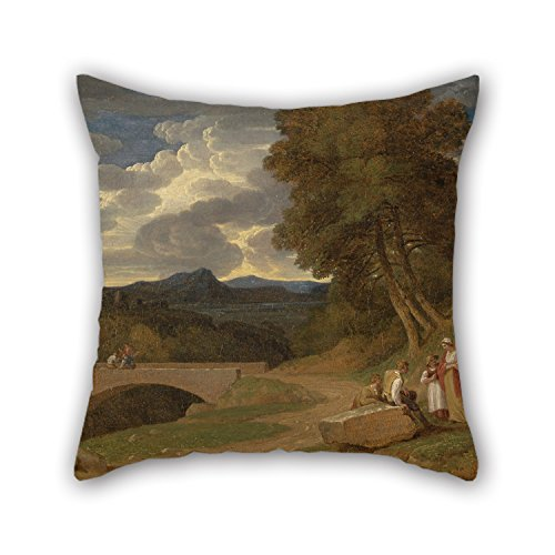 Christmas Abbott Husband - Loveloveu Oil Painting John White Abbott - An Italianate Landscape Pillow Cases ,best For Husband,coffee House,couples,christmas,kitchen 20 X 20 Inches / 50 By 50 Cm(2 Sides)