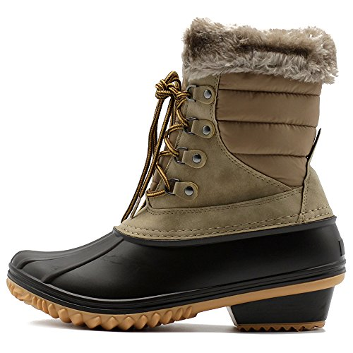 Ollio Boots Quilted up Fleece Duck Shoe Lace Taupe Women Nylon Snow ROqrwR
