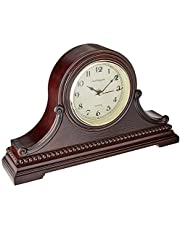 """Vmarketingsite Mantel Clocks, Battery Operated, Silent Wood Table Clock with Westminster Chimes On The Hour, Solid Wooden Shelf Decorative Chiming Mantle Clock, 9"""" x 16"""" x 3"""" (Walnut - Arabic Numerals)"""