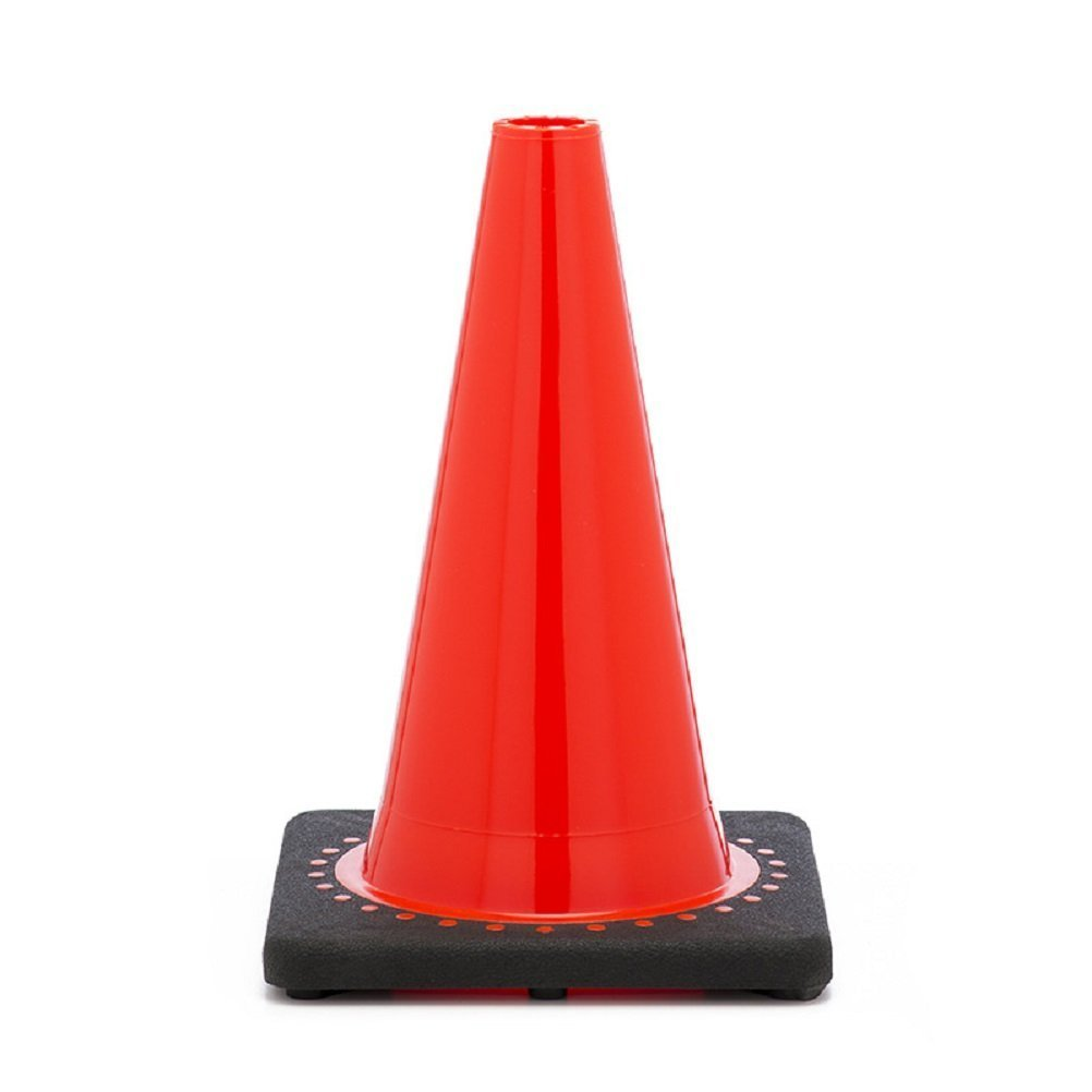 Comfitwear FC-120 Orange Traffic Safety Cone with Black Base, 12'' H