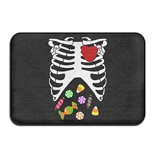 Heart of A Halloween Candy Skeleton Non-Slip Indoor/Outdoor Door Mat Rug for Health and Wellness Kitchen Hallway Bath Office Entrance Rug 23.6