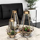Best Choice Products Set of 3 Indoor Outdoor Decorative Metal Faceted Hurricane Candle Lanterns w/Clear Glass, Mirrored Base - Brass