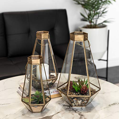 Best Choice Products Set of 3 Indoor Outdoor Decorative Metal Faceted Hurricane Candle Lanterns w/Clear Glass - Brass
