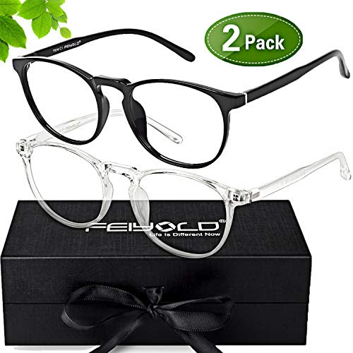 FEIYOLD Blue Light Blocking Glasses Women/Men for Computer Use,FDA Approved Anti Eyestrain Gaming Glasses,Cut UV400 Transparent ()