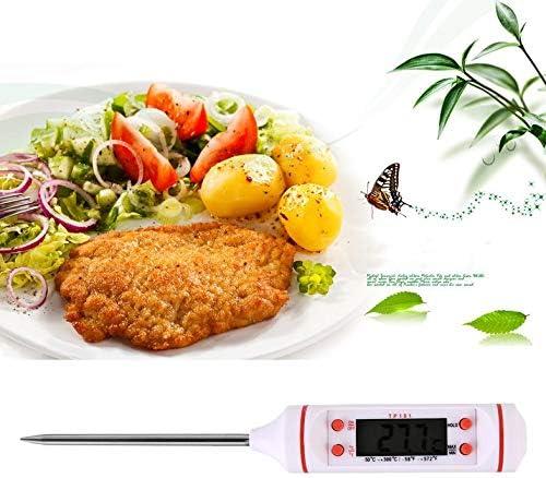 Wei/ß CamKpell Nadel Elektronisches Lebensmittelthermometer Grillthermometer Messen Sie die Milchtemperatur Backen K/üche Wasserdicht