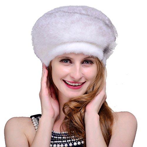 URSFUR Women's Mink Full Fur Beret Hats (One Size, Cross Mink) by URSFUR