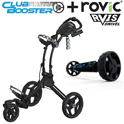 Alphard Club Booster eWheels and Rovic RV1S Swivel Golf Push Cart - Bundle & Save - Remote Control Electric Follow Caddy (Black)
