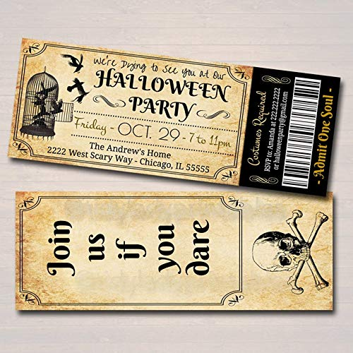 Printable Halloween Costumes Party Invitations - Printable Halloween Ticket Invitation, Costume Party