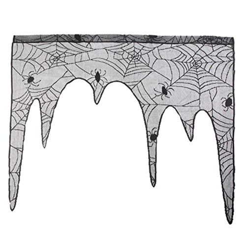 GSN New 1pc Lace Spider Wallpaper Fireplace Table Topper Covers Decor Halloween Theme Party Home Decor Night Club Bar Supplies]()