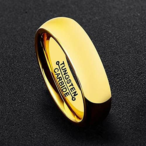 Bishilin 6mm Gold Mens Rings Stainless Steel Wedding Bands High Polished Engagement Rings Size:13