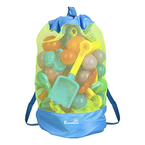 EocuSun Large Mesh Beach Bag Tote Durable Sand Away Drawstring Beach Backpack Swim and Pool Toys Balls Storage Bags Packs, Stay Away from Sand and Water, Toy Not Included, Blue]()