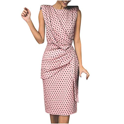 iPOGP Women Chic Bohe Dress Casual Wave Point Print Slim O-Neck Sleeveless Evening Dresses Girl Fashion 2019(Pink,XXXL)