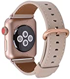 JSGJMY Apple Watch Band 38mm Women Ivory Vintage Genuine Leather Loop Replacement Wrist Iwatch Strap with Series 3 Gold Metal Clasp for Apple Watch Series 3 Gold Aluminum