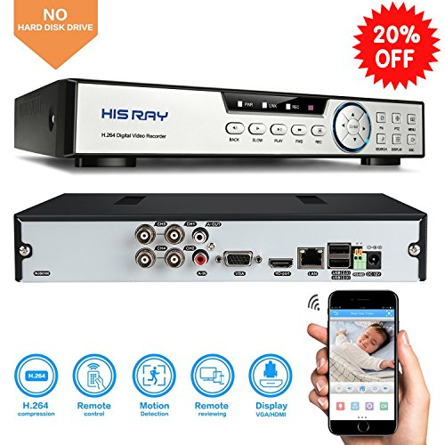 HISRAY 4CH 1080N Hybrid 5-in-1 AHD DVR (1080P NVR+1080N AHD+960H Analog+TVI+CVI) CCTV Quick QR Code Scan/ Easy Remote View /Motion Detection Email Alerts Home Security Surveillance System (No - Email Ray