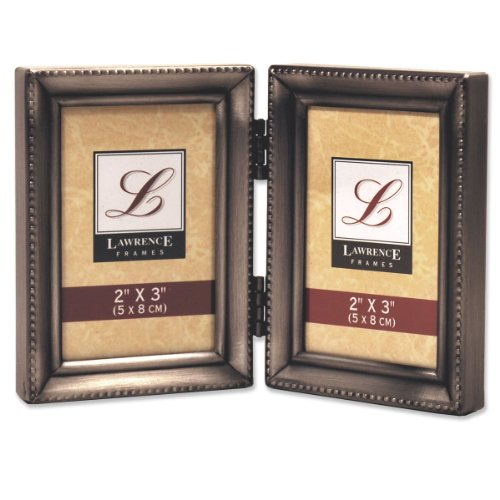 Lawrence Frames Antique Pewter Hinged Double 2x3 Picture Frame - Beaded Edge Design - Antique 3 X 5 Picture Frames