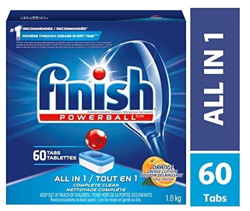 Finish All In 1 Powerball, Orange 60 Tabs, Dishwasher Detergent Tablets