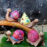 Set of 4 Bright Coloured Resin Snail Garden Ornaments