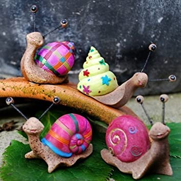 Set of 4 Bright Coloured Resin Snail Garden Ornaments