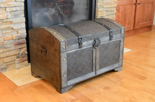 Nostalgic Large Wood Storage Trunk Wooden Treasure Chest - Set Treasure Chest Set