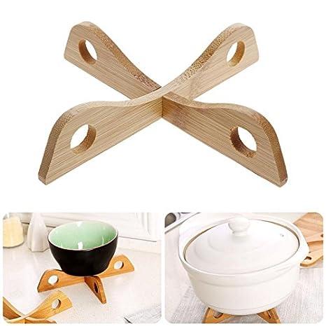 Esteras de bambú resistentes al calor Sartenes Estera extraíble Olla ...