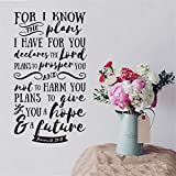 interesting circle kitchen plan Wall Stickers Decor Motivational Saying Lettering Art for I Know The Plans I Have for You Declares The Lord