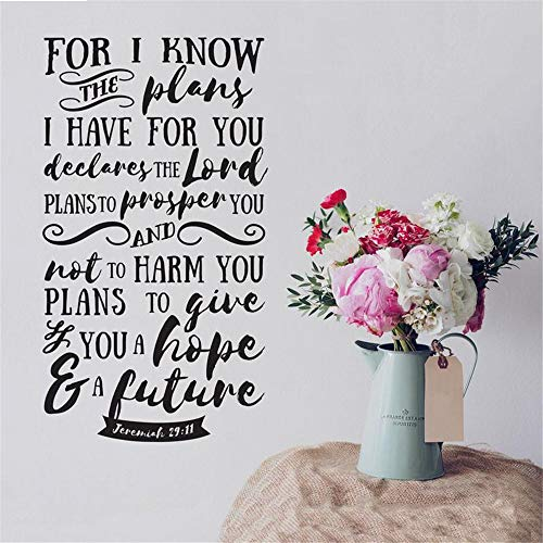 Wall Stickers Decor Motivational Saying Lettering Art for I Know The Plans I Have for You Declares The Lord