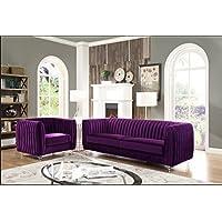 Iconic Home Kent Elegant Velvet Modern Contemporary Plush Cushion Seat Round Acrylic Feet Sofa, Purple