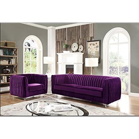 Iconic Home Kent Elegant Velvet Modern Contemporary Plush Cushion Seat Round Acrylic Feet Sofa Purple