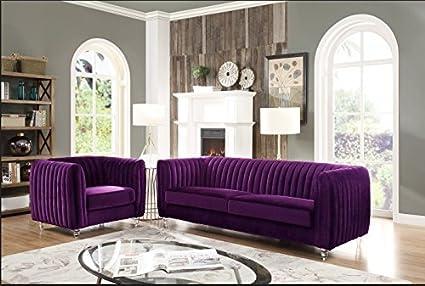 Great Iconic Home Kent Elegant Velvet Modern Contemporary Plush Cushion Seat  Round Acrylic Feet Sofa, Purple