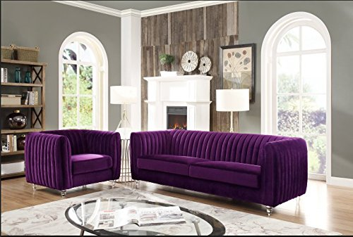 gant Velvet Modern Contemporary Plush Cushion Seat Round Acrylic Feet Sofa, Purple ()