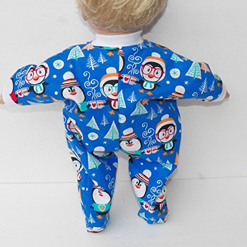Bitty Baby Doll Clothes 15 inch Doll Clothes.Blue Penguin Flannel Pajamas Sleeper