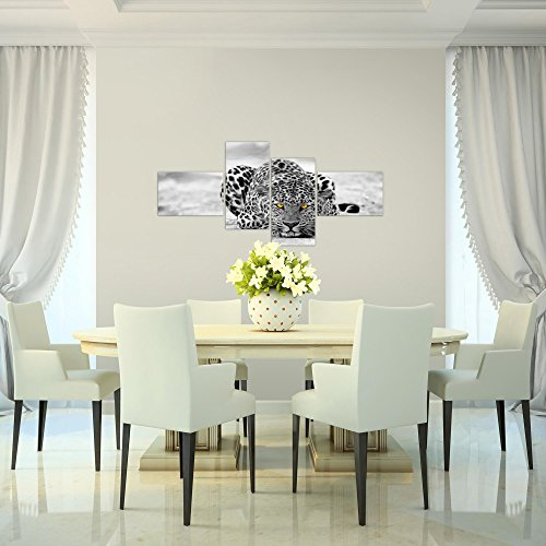 Bilder-Afrika-Leopard-Wandbild-Vlies-Leinwand-Bild-XXL-Format-Wandbilder-Wohnzimmer-Wohnung-Deko-Kunstdrucke-Grau-4-Teilig-MADE-IN-GERMANY-Fertig-zum-Aufhngen-000342a