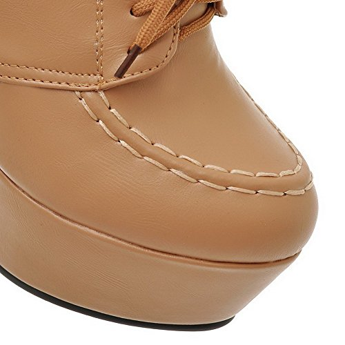 AllhqFashion Womens Ankle High Solid Lace Up Round Closed Toe High Heels Boots, Apricot, 35