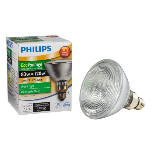 Long Life Standard Screw Base (Philips 424985 83-watt PAR38 Halogen Flood Light Medium Skirted Base Dimmable Long Life Light Bulb)
