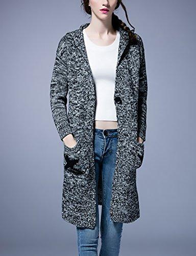 Poches Manches avec Femme Capuche Manteau Ouvert Classique Vintage Cardigan BIRAN Tricot Longues xY1qw