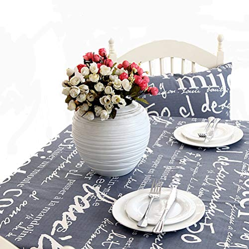 Table Cloth Table Fabric Cover Tablecloths Mats for Kitchen Dinning Dust-Proof Table Cloth Washable Table Cover, English Alphabet Table Cloth,100% Cotton,Gray,140 140Cm (Size : 140200cm)