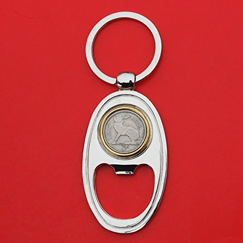 Irish Ireland 3 Pence Lucky Rabbit Hare Coin Key Chain Ring Bottle Opener - Coin Silver Pence